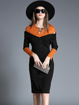 Ericdress Color Block Off-The-Shoulder Belt-Tied Sheath Dress