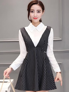 Ericdress Two-Piece Suit Strip Spaghetti Strap Casual Dress