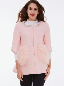 Ericdress Solid Color Round Neck Faux Fur Patchwork Coat