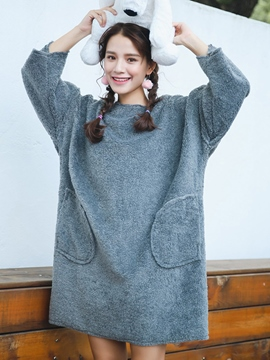 Ericdress Pullover Furry Pocket Patchwork Casual Dress