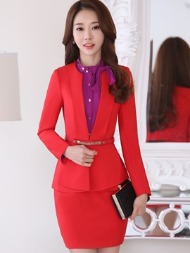 Ericdress Solid Color Round Neck Blazer Formal Suit