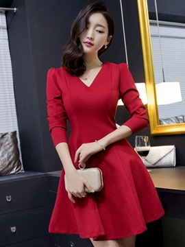 Ericdress Korean V-Neck Pleated Casual Dress