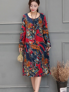 Ericdress Print Round Collar Loose Casual Dress