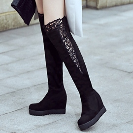 Ericdress Pretty Lace Patchwork Elevator Heel Over The Knee Boots