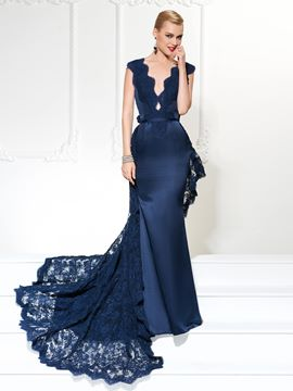 Ericdress Graceful Trumpet/Mermaid Deep Neck Satin Evening Gown With Lace Watteau Train