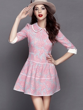 Ericdress Falbala Print Lapel Pleated Casual Dress