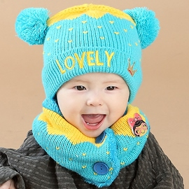 Ericdress Letter Embroidery Warm Baby's Hat & Neck Warmer