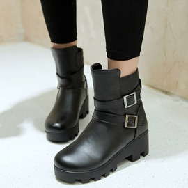 Ericdress Cool Buckles Round Toe Ankle Boots