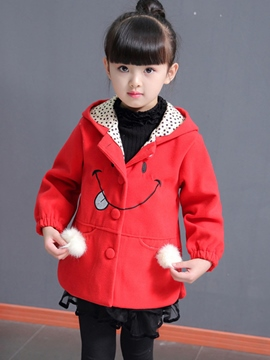 Ericdress Single-Breasted Hooded Cute Girls Coat