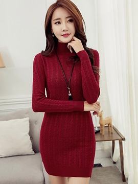 Ericdress Turtleneck Weave Knitting Sweater Dress