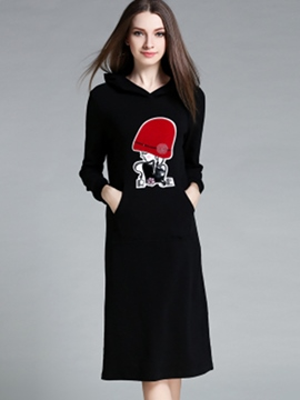Ericdress Casual Hooded Print Maxi Dress