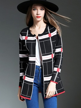 Ericdress Plaid Cardigan Knitwear