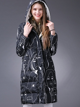 Ericdress Straight Printed Hooded Coat