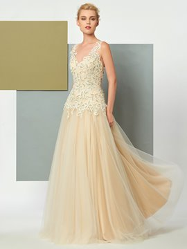 Ericdress A Line V Neck Sleeveless Applique Tulle Floor Length Evening Dress