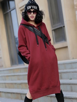 Ericdress Simple Plain Hooded Loose Casual Dress