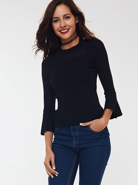 Ericdress Black Slim Trumpet Knitwear