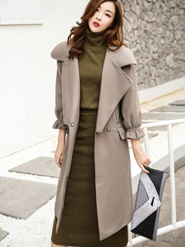 Ericdress Solid Color Turn Down Coat