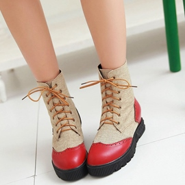 Ericdress Pretty Patchwork Lace up Ankle Boots