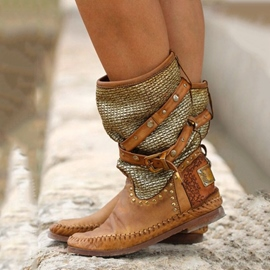 Ericdress Vintage Patchwork Ankle Boots