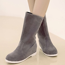 Ericdress Suede Round Toe Mid Calf Flat Boots