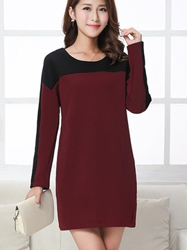 Ericdress Patchwork Above Knee Round Collar Casual Dress