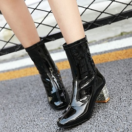 Ericdress Patent Leather Square Heel Ankle Boots