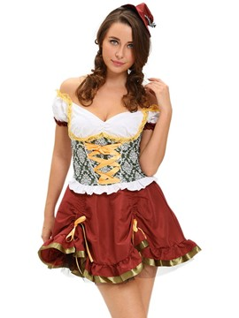 Ericdress Color Block Patchwork Sexy Beer Girl Cosplay Halloween Costume