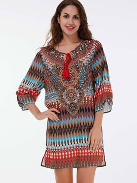 Ericdress Ethnic Print Lace-Up Casual Dress