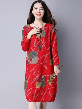 Ericdress Color Block Print Bud Knee-Length Casual Dress