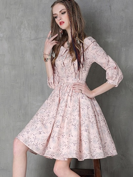 Ericdress Peter Pan Collar Print Pleated Casual Dress