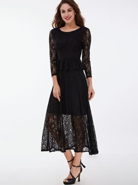Ericdress Lace Hollow Falbala Patchwork Maxi Dress