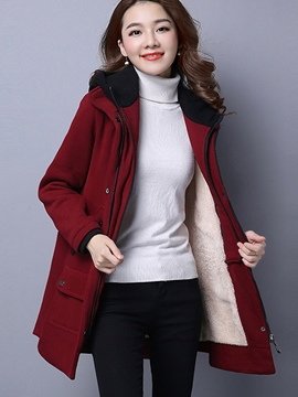 Ericdress Straight Zipper Fleece Hoodie