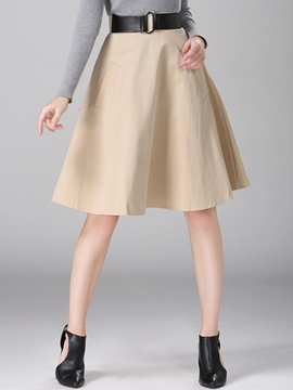 Ericdress Pleated High-Waist A-Line Usual Skirt
