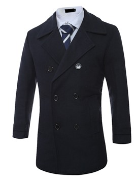 Ericdress Plain Double-Breasted Slim Woolen Men's Coat