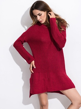 Ericdress Solid Color Split Loose Sweater Dress