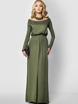 Ericdress Slash Neck Elastic Pleated Maxi Dress
