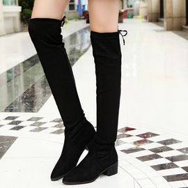 Ericdress Suede Back Lace up Knee High Boots
