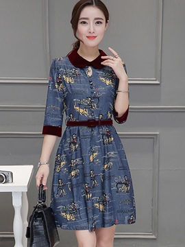 Ericdress Peter Pan Collar Patchwork Button Casual Dress
