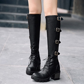 Ericdress PU Buckles Square Heel Ankle Boots