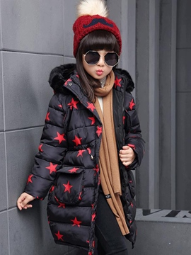 Ericdress Stars Print Hooded Girls Down Coat