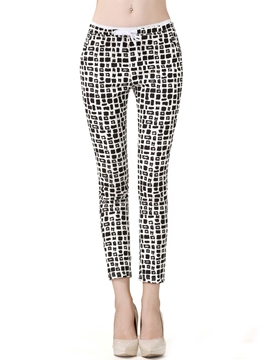 Ericdress Plaid Print Lace-Up Leggings Pants
