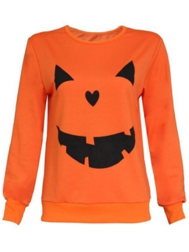 Ericdress Color Block Halloween Printed Hoodie