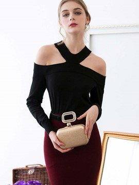 Ericdress Cold Shoulder Solid Color Sexy Knitwear