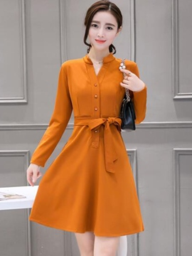 Ericdress Stand Collar Button Lace-Up Casual Dress
