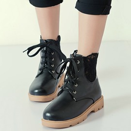 Ericdress Lace Patchwork Round Toe Ankle Boots