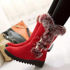 Ericdress Hot Selling Furry Buckles Snow Boots