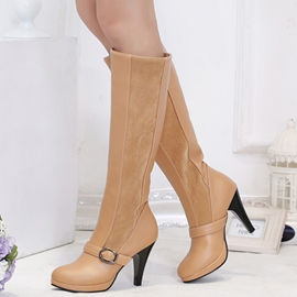 Ericdress Patchwork Buckles Knee High Boots
