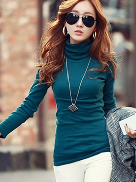 Ericdress Turtle Neck Plain T-Shirt