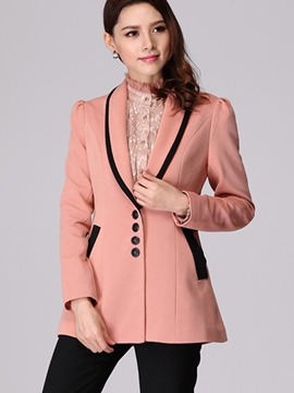 Ericdress Color Block Turn-Down Slim Blazer