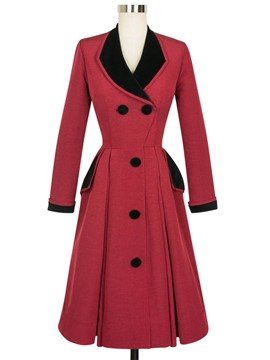 Ericdress Color Block Slim Wave Cut Lady Coat